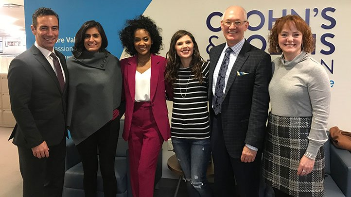 Last week, the Crohn's and Colitis Foundation brought patients and advocates together to bring attention to the need for diversity in IBD research. From left to right: Michael Osso, Tina Aswani Omprakash, Gaylyn Henderson, Stephanie Hughes, Dr. Brent Polk, and Laura Wingate.