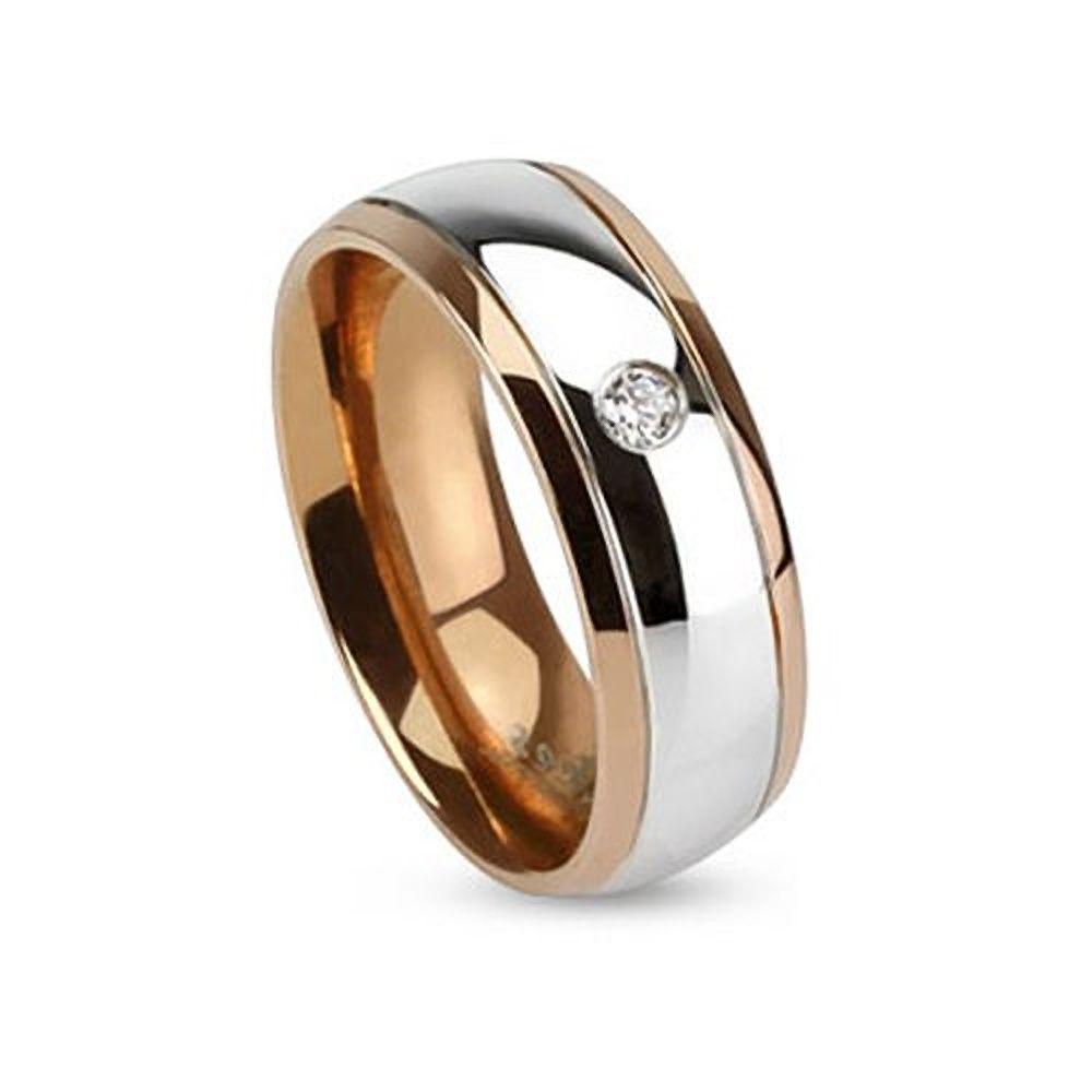 Damen Herren Ring Edelstahl Partnerring Ehering Zweifarbig