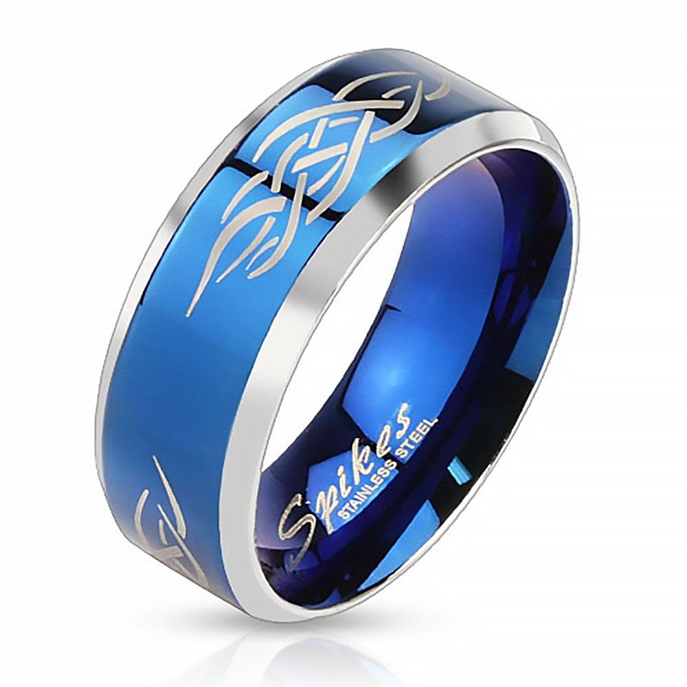 Herrenring Edelstahl Ring Herren Tribal Biker Bandring Gothic schwarz blau gold  eBay