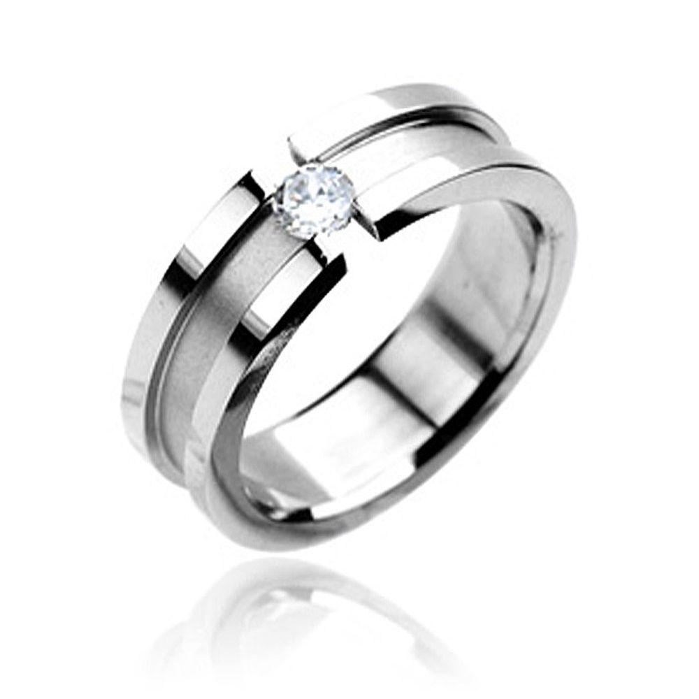 Ring Edelstahl Damen Herren Spannring Zirkonia Kristall Partnerring Ehering Verlobungsring  Akowi