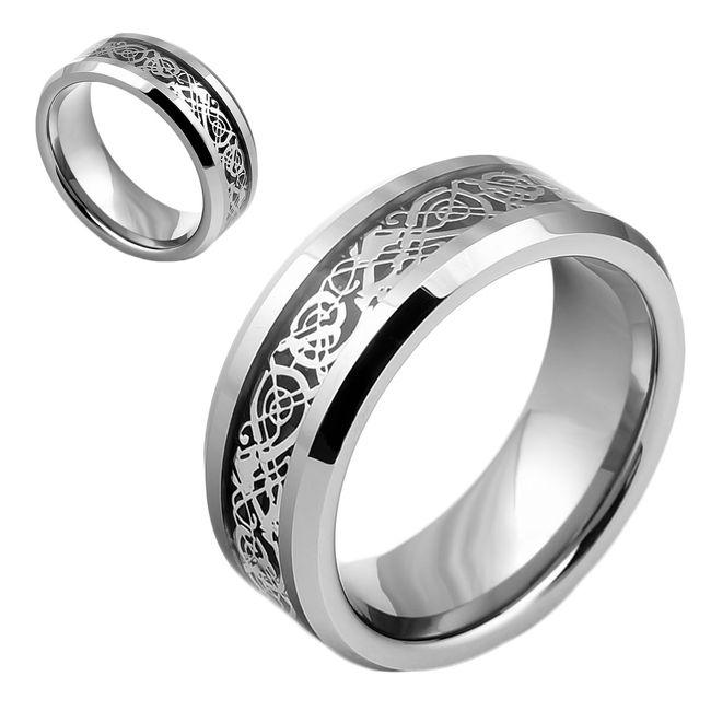 Wolfram Ring Tungsten Herren Damen Celtic Keltisch Drache Inlay Partnerring  eBay