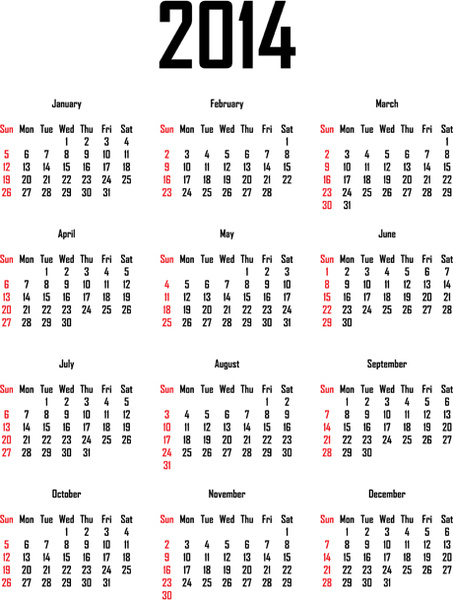 Week number 2014 calendar free vector download (3,934 Free