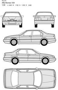 Alfa romeo car all side blueprint vector Free vector in