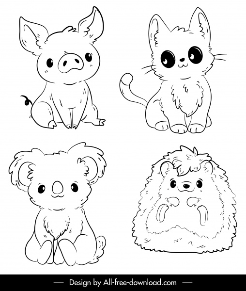Animals Icons Cute Handdrawn Sketch Black White Outline Free Vector In Adobe Illustrator Ai Ai Format Encapsulated Postscript Eps Eps Format Format For Free Download 2 08mb