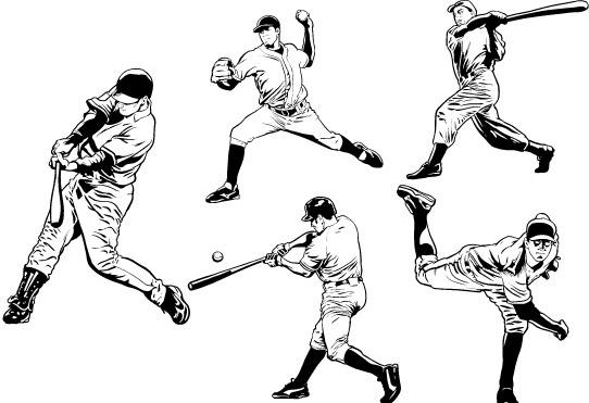 Baseball Players Free vector in Adobe Illustrator ai ( .ai
