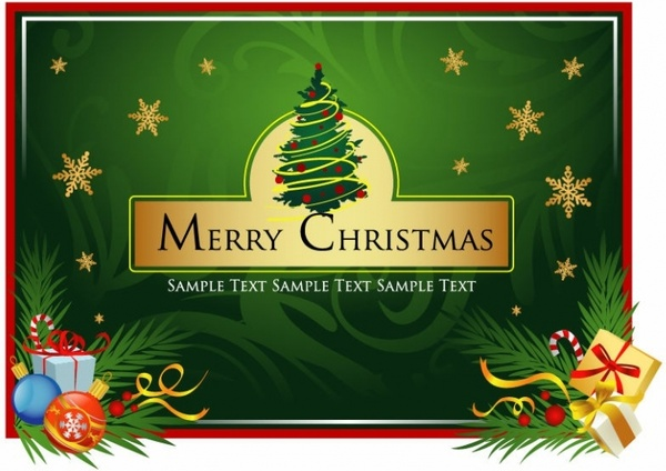 Beautiful Christmas Card Vector Free Vector In