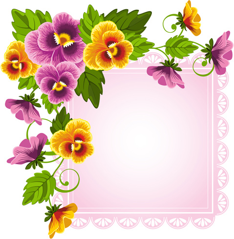 Flower Border Pink Green Free Vector Download 21925 Free