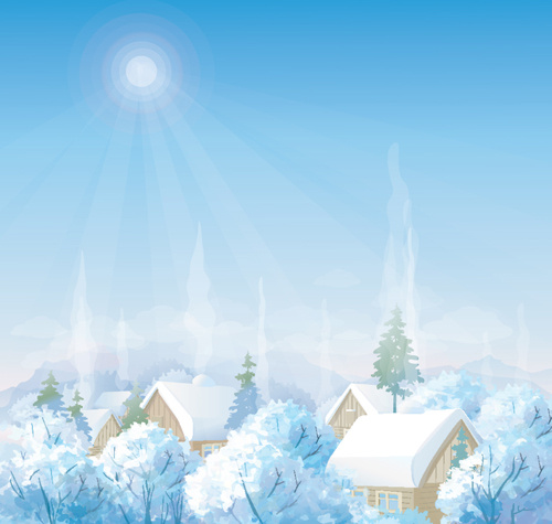 Snowman Cute Wallpapers Winter Landscape Silhouette Vector Free Vector Download