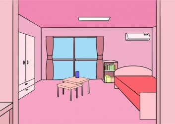 Bedroom decoration vector illustration with pink Free vector in Open office drawing svg svg format format for free download 517 94KB