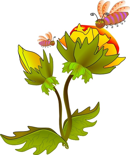 bee and flower clip art free vector