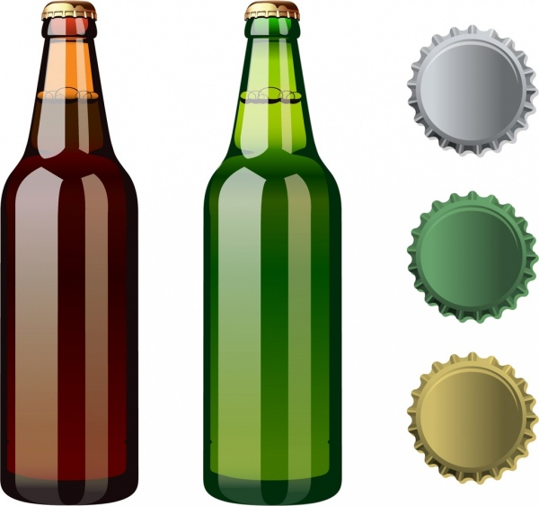 Download Beer bottles lid icons shiny colored design Free vector in ...