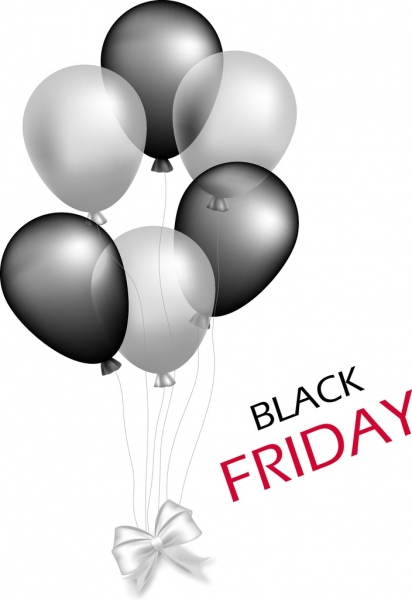 black friday banner grey balloons