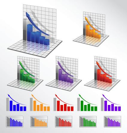 business 3d graph vector