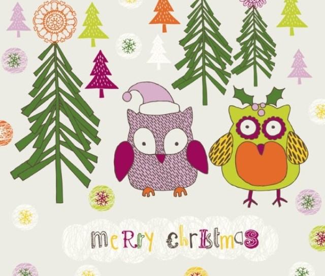 Cartoon Christmas Owl Pattern  Vector Free Vector  Mb