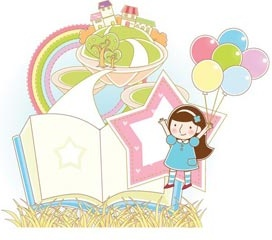 cartoon girl playing with balloon in landscape in background showing city vector illustration