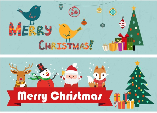 Christmas Banners Classical Design And Symbol Elements