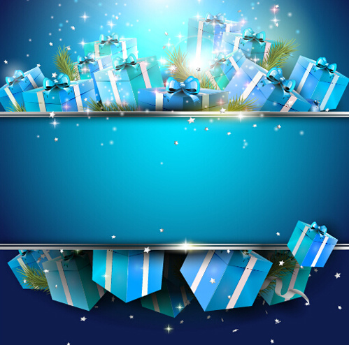 Christmas Blue Gift Box Background Vector Free Vector In