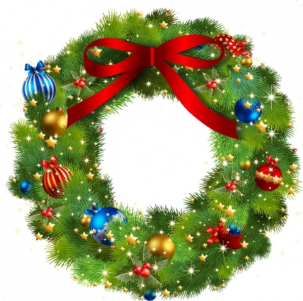 christmas wreath border free vector