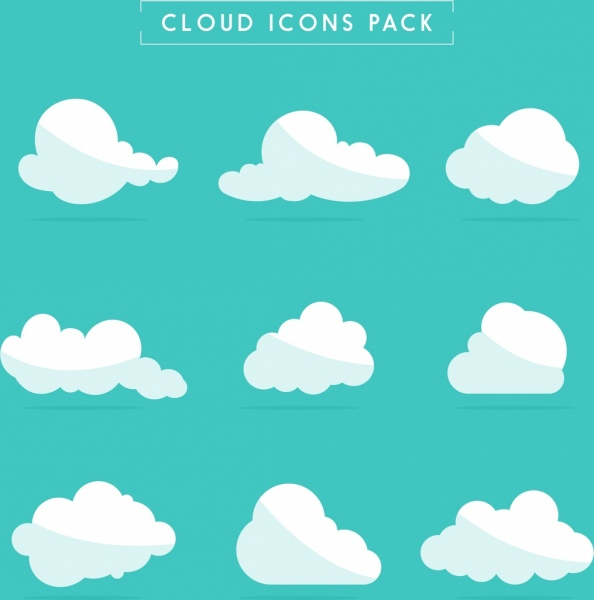 Cloud icons collection white flat shapes Free vector in