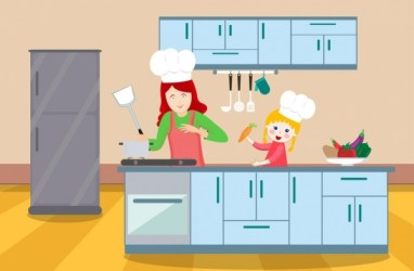 Cooking background mother daughter kitchen icons cartoon design Free vector in Adobe Illustrator ai ai format Encapsulated PostScript eps eps format format for free download 2 04MB