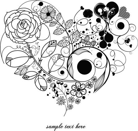 Creative floral hearts design vector graphics Free vector