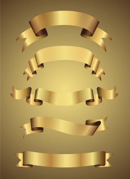 Logo Pita Emas : Curled, Golden, Ribbon, Yellow, Background, Vector, Adobe, Illustrator, Illustration, Graphic, Design, Format,, Encapsulated, PostScript