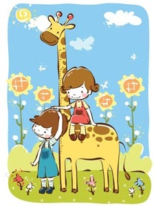 cute kids playing in zoo a baby girl sitting on giraffe vector