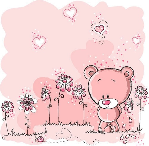 cute pink bear illustrator vector flowers line draft