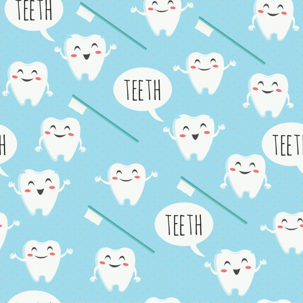 Dental background stylized tooth brush icons repeating