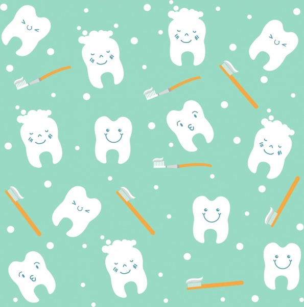 Dentistry background teeth toothbrush icons repeating