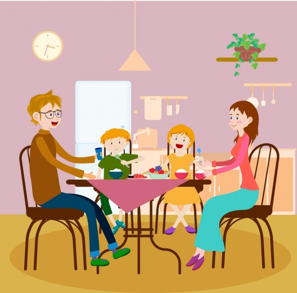 Dinner background colored cartoon decor family members