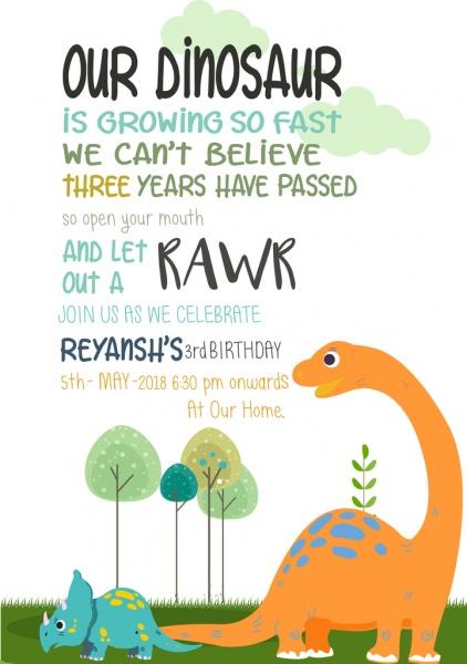 dinosaur birthday invite free vector in