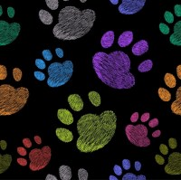 Dog footprints background colorful repeating outline Free ...