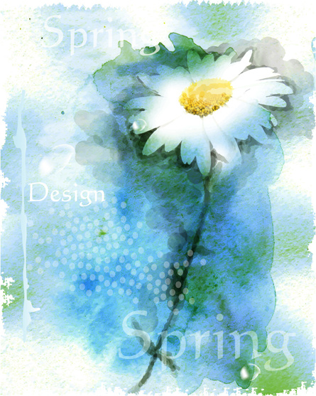 drawn watercolor flower art