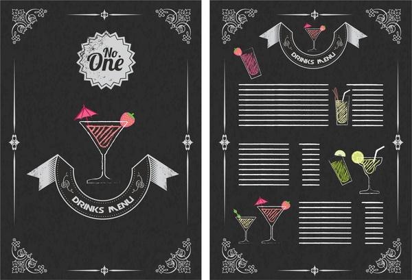 Drinks Menu Design Vintage Style On Dark Background Free