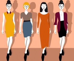 Elegant office fashion collection lady icons cartoon characters Free vector in Adobe Illustrator ai ai format Encapsulated PostScript eps eps format format for free download 1 12MB