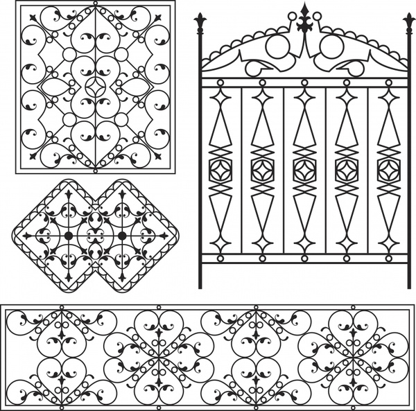 Europeanstyle iron gate pattern vector Free vector in