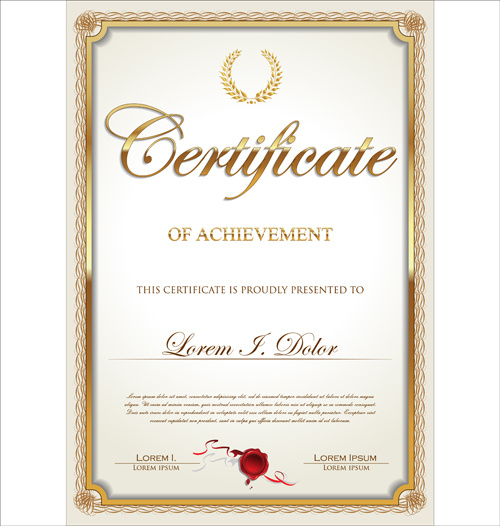 Exquisite certificate frames with template vector Free