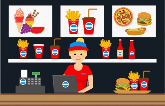 This is a clipart image of a fast food place with an employee who works as a cashier.