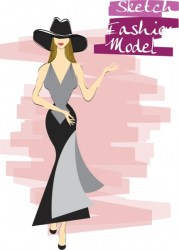 Female fashion background elegant woman icon sketch Free vector in Adobe Illustrator ai ai format Encapsulated PostScript eps eps format format for free download 2 30MB