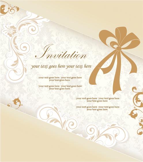 Fl Elegant Invitation Cards Vector Set