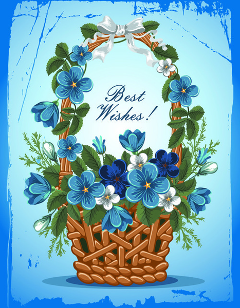 Download Flower baskets wishes card vector Free vector in ...