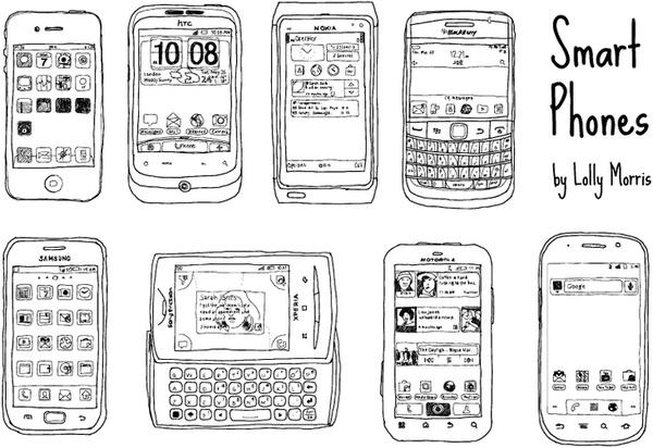 Free Hand Drawn Smart Phone Vectors!!! Free vector in