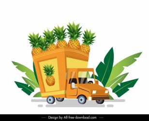 Fruit van icon pineapple decor colorful 3d sketch Free vector in Adobe Illustrator ai ai format Encapsulated PostScript eps eps format format for free download 7 87MB