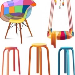 Chair Design Icons Knoll Life Furniture Chairs Swing Objects Colorful 3d Free Vector