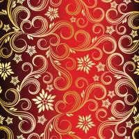 Golden swirls floral pattern background design vector Free ...