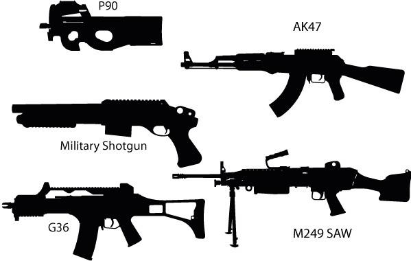 Gun Silhouettes Free vector in Adobe Illustrator ai ( .ai