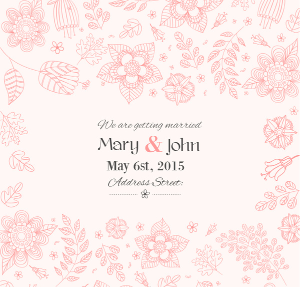 Hand Painted Fl Wedding Invitation Poster Vector