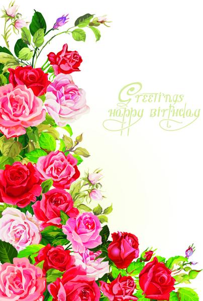 happy birthday flowers greeting