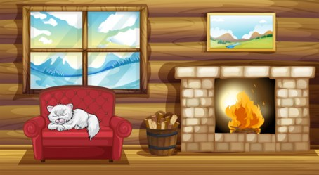 background fireplace vector reading beside sofa owl cat sleeping illustration near room living christmas material chair clipart royalty vectors premium